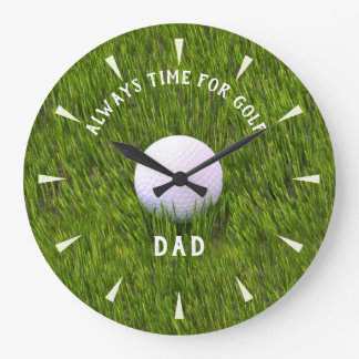 Dad Name Golf Ball Always Time for Golf Wall Clock