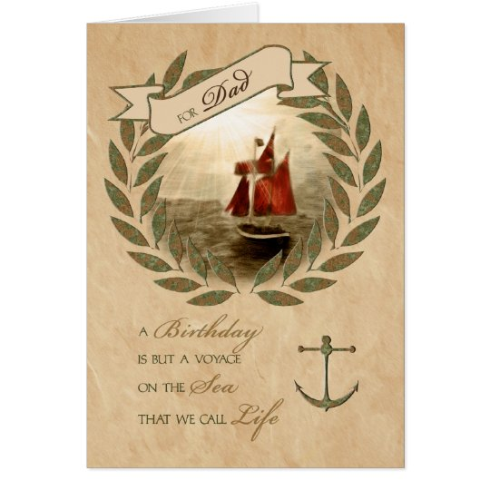 Dad on His Birthday Nautical Sailing Theme Card