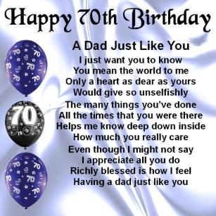 Dad Poem 70th Birthday Gift Box