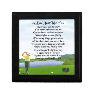 Dad Poem -  Golf Design Small Square Gift Box