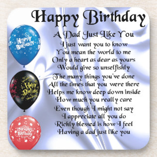 Dad Poem  Happy Birthday Drink Coaster