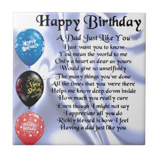 Dad Poem  Happy Birthday Tile