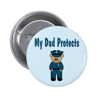 Dad Protects Policeman Bear 6 Cm Round Badge