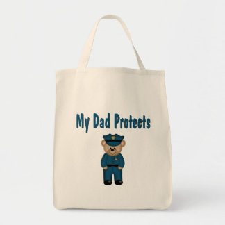 Dad Protects Policeman Bear Canvas Bag