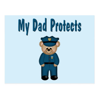 Dad Protects Policeman Bear Postcard