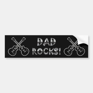 Dad Rocks! Black & White Guitars Bumper Sticker