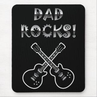 Dad Rocks!  Black & White Guitars Mouse Pad