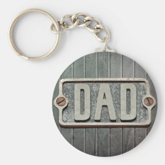 DAD Rustic Metal Plate Basic Round Button Key Ring