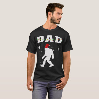 Dad Santa Bigfoot Christmas Pajama Family Matching T-Shirt