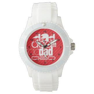 Dad; Scarlet Red Stripes Wrist Watches