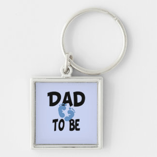 Dad to Be (boy) Silver-Colored Square Key Ring