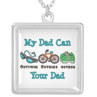 Dad Triathlon Sterling Silver Necklace