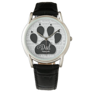 Dad Typography Black Dog Paw Print Watch