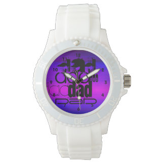 Dad; Vibrant Violet Blue and Magenta Wrist Watches