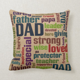 Dad Word Cloud Text Father's Day Typography Cushion