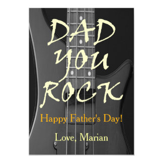 Dad You Rock Happy Father's Day Custom Photo Card