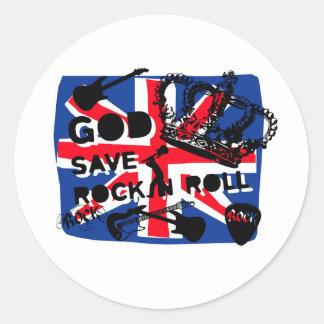 Dadawan God save Rock'n'Roll Round Stickers