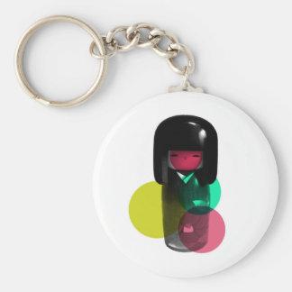 Dadawan Japan kokeshi doll Basic Round Button Key Ring