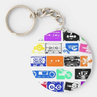 Dadawan K7 tapes vintage colors Basic Round Button Key Ring