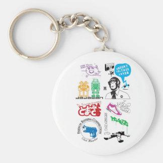 Dadawan mash up pop icons basic round button key ring