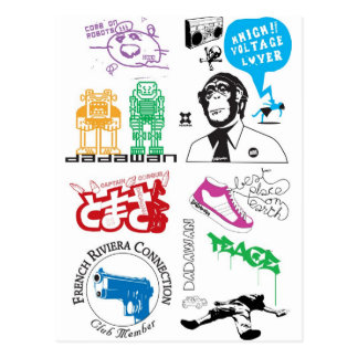Dadawan mash up pop icons postcard