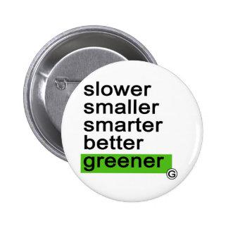 Dadawan Slower smaller smarter better greener 6 Cm Round Badge