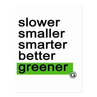Dadawan Slower smaller smarter better greener Postcard