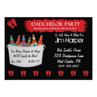 Dadchelor Diaper Keg Party Invitations