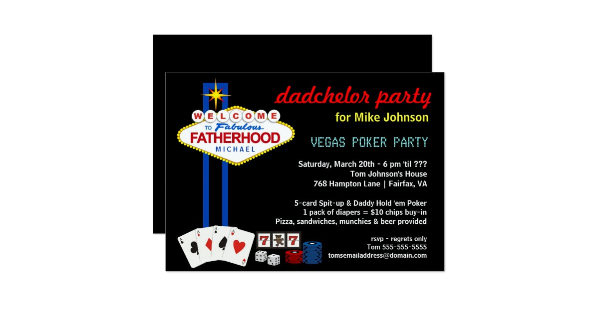 Casino style party invitations - Slots and Poker