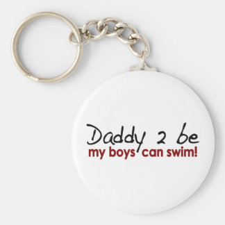 Daddy 2 Be Boys Can Swim Basic Round Button Key Ring