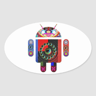 Daddy and Baby Android  -  Art101 by Navin Oval Sticker