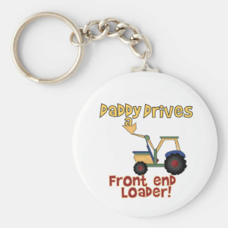 Daddy Drives a Front End Loader Basic Round Button Key Ring