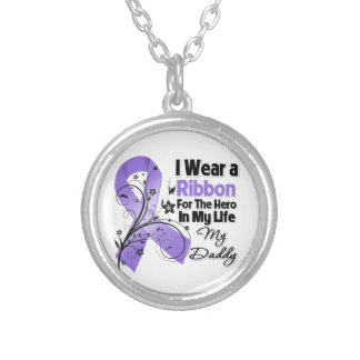 Daddy Hero in My Life Hodgkin's Lymphoma Round Pendant Necklace