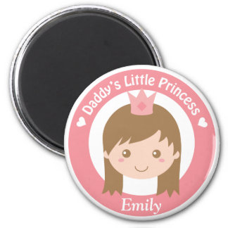 Daddy Little Princess, Cute Princess with Tiara 6 Cm Round Magnet