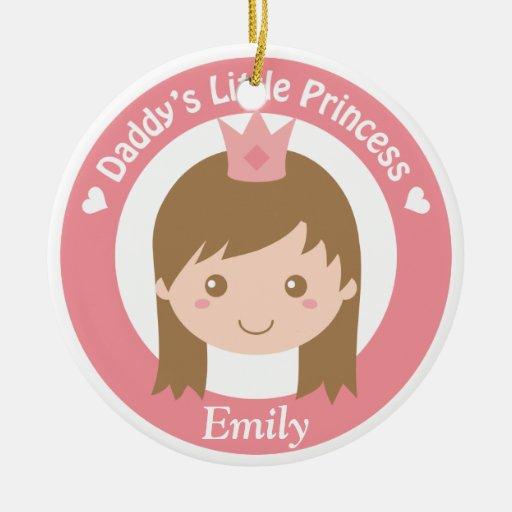 Daddy Little Princess, Cute Princess with Tiara Christmas Tree Ornaments