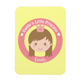 Daddy Little Princess, Cute Princess with Tiara Rectangle Magnet