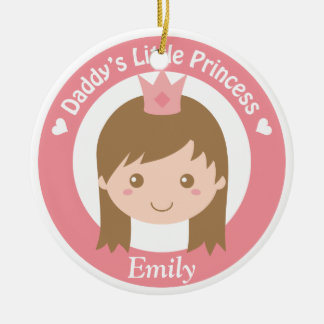 Daddy Little Princess, Cute Princess with Tiara Round Ceramic Decoration
