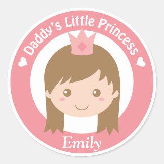 Daddy Little Princess, Cute Princess with Tiara Round Sticker