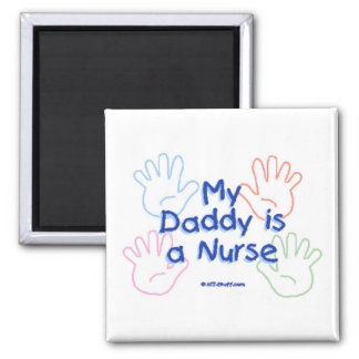 Daddy Nurse Hands Square Magnet