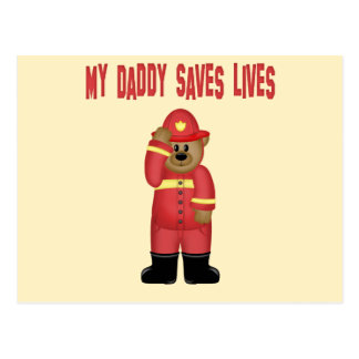 Daddy Saves Lives Firefighter Postcard
