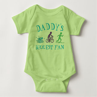 Daddy's Biggest Fan Swim Bike Run Triathlon Race Baby Bodysuit