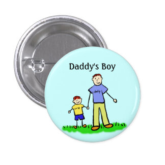 Daddy's Boy Pin Custom Family Character Buttons