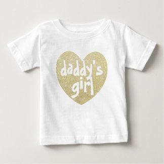 Daddy's Girl Glitter-Print heart Golden Baby T-Shirt