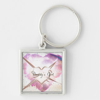 Daddy's Girl Splash Silver-Colored Square Key Ring