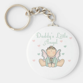 Daddy's Little Angel Basic Round Button Key Ring