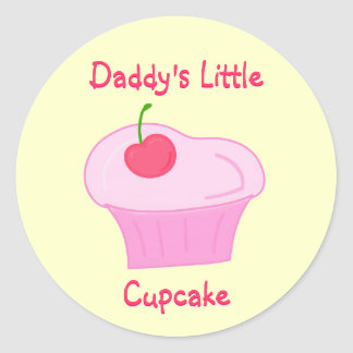 Daddy's Little Cupcake -Cute Pink Cake with Cherry Round Sticker