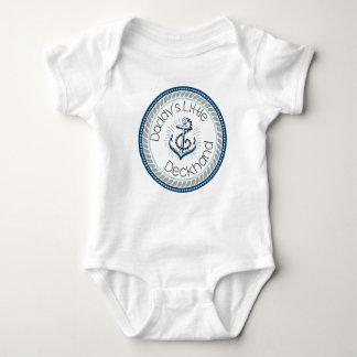 Daddy's Little Deckhand -- Marine & Gray Baby Bodysuit
