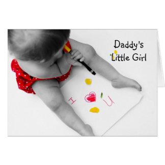 Daddy's Little Girl I Love You Dad With Red Heart Greeting Card