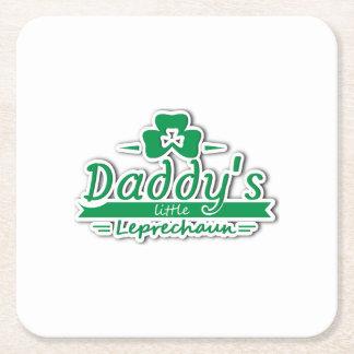 Daddy's Little Leprechaun St Patricks Day Kids Square Paper Coaster