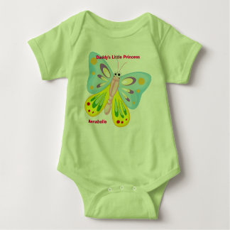 Daddys Little Princess with Words and Butterflies Baby Bodysuit